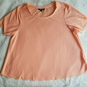 Peach Topshop Scalloped Top Size 8